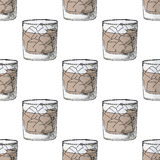 Painted illustration with drinks. A glass of whiskey. Cola with ice. Seamless pattern. Stock Image