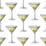 Painted illustration with drinks. Martini with olives. Seamless pattern. Royalty Free Stock Images