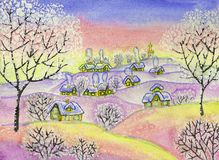 Winter landscape, painting. Painted illustration, winter landscape, watercolours and white acrylic, can be used as picture for Christmas and New Year holidays Stock Image
