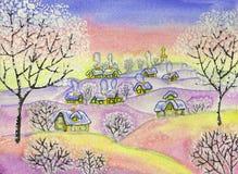 Winter landscape, painting Stock Image