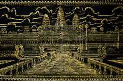 Painted image of angkor wat in cambodia Stock Images
