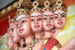 Painted Indian gods. A beautifully painted gods and goddesses on the temple top Stock Photos