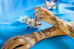 Painted Indian hand with mehndi ornament. Closeup slender female wrists painted with traditional indian oriental mehndi ornaments. Womens hands decorated with royalty free stock photography