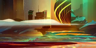 Painted industrial landscape in warm colors in the style of cyberpunk royalty free stock image