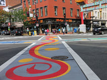 Painted Intersection In Chinatown Royalty Free Stock Image