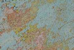 Painted iron surface with a rusty and metal corrosion, chipped paint, old background with peeling and cracking paint, texture. Fragment of a rusty iron surface Stock Photos