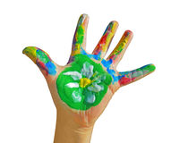 Painted kid hand Royalty Free Stock Images