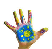 Painted kid hand Stock Photo