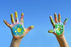 Painted kid hands Stock Photo