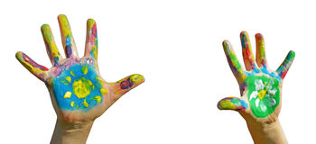 Painted kid hands Royalty Free Stock Image