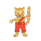 Painted kitten waving paw Royalty Free Stock Photo