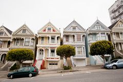 Painted Ladies. Is a term used for Victorian and Edwardian houses and buildings painted in three or more colors that embellish or enhance their architectural Stock Images