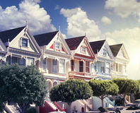 Painted ladies at alamo square Royalty Free Stock Images