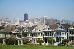 The painted ladies in Alamo square Stock Photos