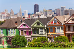 Painted ladies from Alamo square and SF skyline Stock Image