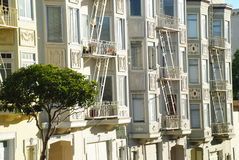 Painted Ladies. Beautiful houses windows details at San Francisco Stock Images