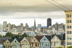 Painted Ladies with downtown in the background Stock Photos