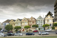 Painted Ladies with downtown in the background Stock Image