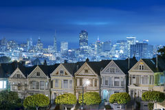 Painted ladies at Night, San Francisco. The Painted Ladies of San Francisco Alamo Square Victorian houses at California USA Stock Photo