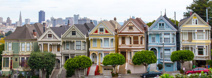 Painted Ladies. A portrait of the Painted Ladies of San Francisco Royalty Free Stock Photo