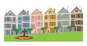 Painted Ladies Row Houses in San Francisco CA vector Illustration vector illustration