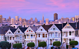 Painted Ladies, San Francisco. The famous Painted Ladies are quant little houses with a metropolis for a back yard Stock Images