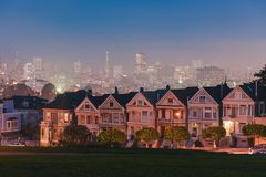 Painted Ladies of San Francisco at night. With amazing colors royalty free stock photography