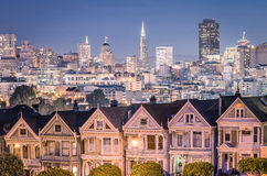The Painted Ladies - San Francisco Skyline. The Painted Ladies with San Francisco Skyline stock photography
