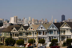 Painted Ladies and San Francisco Skyline. Painted Ladies as seen from Alamo Park, San Francisco Royalty Free Stock Photography