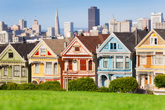 Painted ladies and San Francisco view. On background Royalty Free Stock Photography