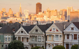 Painted Ladies Victorian Era Houses San Francisco at Sunset Stock Photo