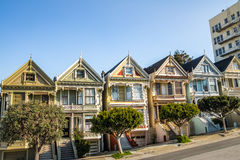 Painted Ladies Victorian Houses row at Alamo Square - San Francisco, California, USA royalty free stock photos