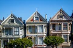 Painted Ladies Victorian Houses row at Alamo Square - San Francisco, California, USA Stock Photos