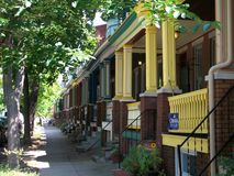 Painted Lady houses in a Baltimore neighborhood Stock Photos