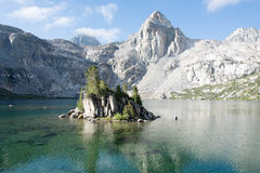 The Painted Lady at Rae Lakes in Kings Canyon National Park. The Painted Lady mountain reflected in the lake royalty free stock photography
