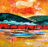 Painted Landscape / Abstract Sunset on Mountains stock photos