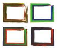 Painted landscape frames. Vector illustration of four colorful painted landscape frames vector illustration