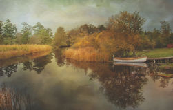 Painted Landscape at the river. Stock Images