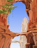 Painted landscape of rocky mountains with arches and bridges. Of stone vector illustration