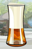 Painted large glass of beer on background of the tropics Royalty Free Stock Photo