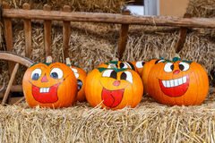 Painted laughing Pumpkins Stock Image