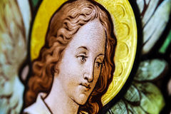 Painted leaded pane in the church Royalty Free Stock Image