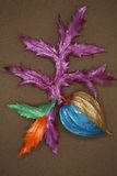 Painted leaves and thistle Royalty Free Stock Photography
