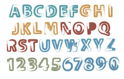 Painted letters and digits Stock Images