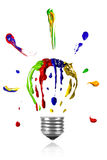 Painted light bulb with paint around Royalty Free Stock Photo