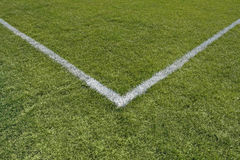 Painted lines in the corner of a playing field Stock Image