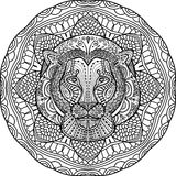 Painted lion on a background of circular pattern. Monochrome hand-drawn ink drawing. Painted lion on a background of circular tribal pattern. Coloring page book Royalty Free Stock Photos
