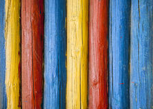 Painted log  wall Royalty Free Stock Photos
