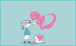 Painted love. Vector illustration of boy painting heart shape Royalty Free Stock Photos