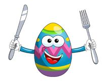 Painted mascot easter egg holding fork and knife isolated. On white Royalty Free Stock Photo